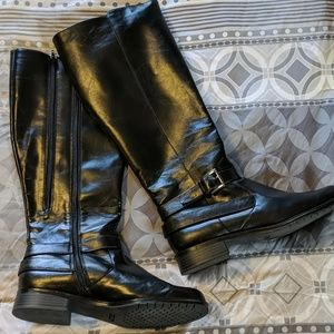Black Patent Extended Calf Aerosoles Riding Boot